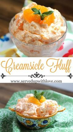 Fluff Creamsicle Fluff recipe from Served Up With Love. The perfect salad to take to any potluck or picnic this summer.Creamsicle Fluff recipe from Served Up With Love. The perfect salad to take to any potluck or picnic this summer. Fluff Desserts, Jello Desserts, Jello Recipes, Dessert Salads, Fruit Salad Recipes, Easy Desserts, Delicious Desserts, Dessert Recipes, Yummy Food