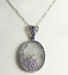 Art Deco Sterling Silver Filigree Camphor Glass Diamond Necklace - Vintage Lane Jewelry - 1