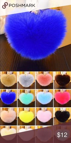 💙Heart Poof Fur Ball Keychain 💙 Get the look!! -- Big Blue Heart Jumbo size (approx. 12 cm in diameter) Blue heart shaped Fur Ball Keychain with gold plated keychain and key ring Made with faux fur  Soft and Luxurious  A fabulous way to accesorize!! Also available in light pink and watermelon bright PINK ! P.s. Color may vary slightly than the picture but it's pretty much the same. Accessories