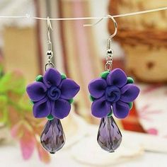 polymer clay flower earrings by wanting
