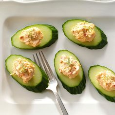 Shrimp & Feta Cucumber Rounds Recipe -I love the contrasting tastes and textures of these rounds. Each bite balances the refreshing burst and crunch of cucumber with the rich flavor and creaminess of the filling.—Donna Pochoday, Morristown, New Jersey