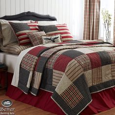 Red White Blue Patriotic Patchwork American Flag Country Home Quilt Bedding Set #VhcBrands #Colonial