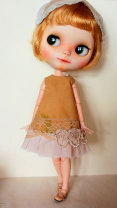 Shabby Chic dress for Blythe doll with pearls