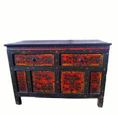 Hand Painted Tibetan Side Table