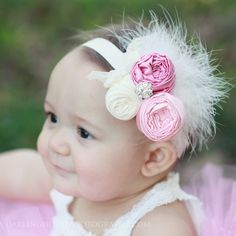 Pink Spring couture vintage inspired fabric rosette headband for baby or little girl. $14.99, via Etsy.