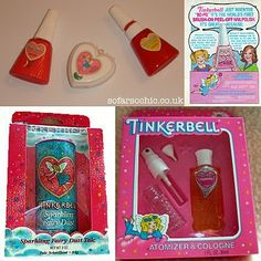 Was there anything cooler than Tinkerbell cosmetics? Nope! Peel-off nailpolish...I mean come on. Pure 80s awesomeness!