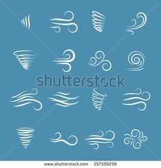 Wind icons nature, wave flowing, cool weather, climate and motion, vector illustration - stock vector