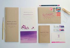 Watercolor wedding invitations. BEAUTIFUL! Love that it is combined with kraft paper.