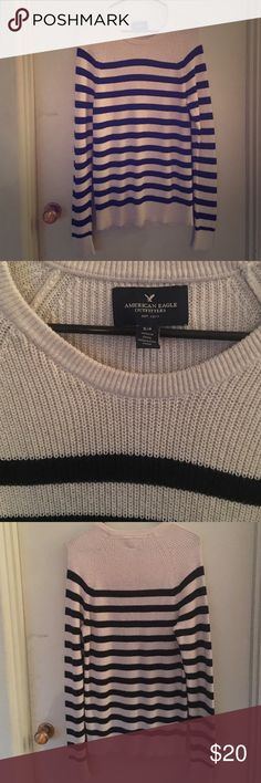 Men's American Eagle sweater Men's American Eagle sweater is in perfect condition. This sweater is 100% cotton. The color is cream/ off white with navy stripes. This sweater has great style and comfort. American Eagle Outfitters Sweaters