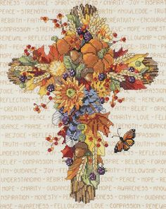 Autumn Floral Cross Counted Cross Stitch Kit-11 X13-3/4  14 Count
