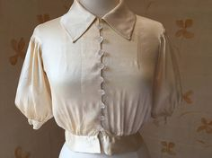 1930s chamois silk blouse with balloon sleeves and ruching