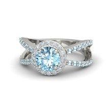 Round Aquamarine Platinum Ring with Diamond
