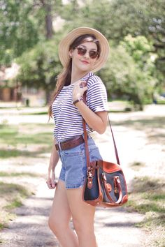 stripes and high waisted jeans