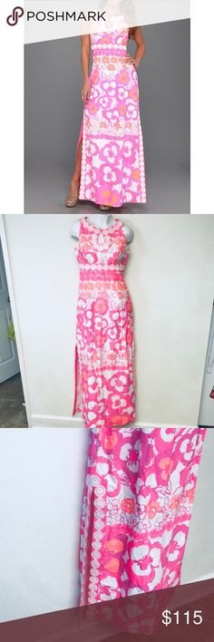 Lilly Pulitzer multi pansy dance long maxi dress Lilly Pulitzer multi pansy dance didi long maxi dress  -lined -back zipper  - gently used was dry cleaned end of October and the shadows in my crappy military housing make it look funky.   Size 2 Pit to pit measures approximately 19 in Length measures approximately 58 in  Perfect for a casual prom dress or vacation! Lilly Pulitzer Dresses Maxi