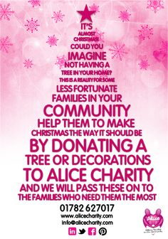Tree appeal Donate A Tree, Charity, Alice, Christmas, How To Make, Decor, Xmas, Weihnachten, Decorating