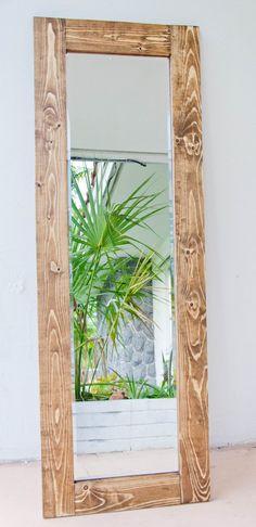Wood Framed Mirror, Rustic Wood Frame Mirror, Full Length Wood Mirror, Rustic Mirror, Wood Mirror Rustic Mirrors, Wood Framed Mirror, Diy Mirror, Full Length Mirror With Lights, Rustic Full Length Mirror, Old Wood, Rustic Wood, Outdoor Mirror, Western Bedrooms