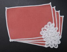 4 Vintage Linen Brussels Lace Cocktail Napkins - White Tape Lace on Deep Coral