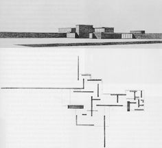 Brick House by Mies van der Rohe | A great composition of walls that eventually slice through the landscape and point outwards to the nature...or perhaps inwards to the house?