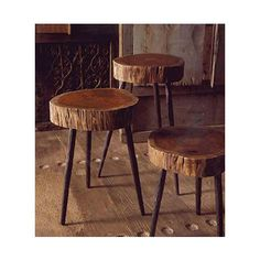 Terra Stool - Made from acacia wood atop three sturdy, hand-forged recycled iron legs, these quirky pieces make rustic stools or side tables. Some radial cracking is to be expected. Some assembly required. Sizes are approximate. Deco Ethnic Chic, Eclectic Coffee Tables, Rustic Stools, Bar Stools, Outdoor Stools, Diy Stool, Wood Stool, Wood Slab Table, Diy Casa