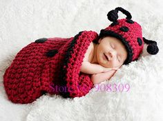 knit sleeping sack | Unisex Baby Infant Ladybug Sleeping Bag Handmade Knit Crochet Animal ...