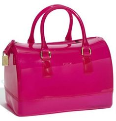 """I keep admiring these """"rubber"""" handbags. Furla 'Candy' Transparent Rubber Satchel available at Cheap Handbags, Purses And Handbags, Bling Bling, Designer Handbags Outlet, Style Personnel, Estilo Fashion, Candy Bags, Cute Purses, Pink Purses"""