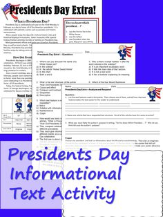 Informational text reading with activities for Presidents Day, for middle school and upper elementary. Reading Resources, Reading Skills, Teaching Reading, Guided Reading, What Is Presidents Day, Nonfiction Text Features, Informational Texts, Middle School English, Thing 1