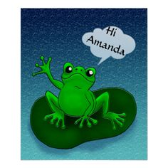 Customizable frog floating on a leave in ocean poster