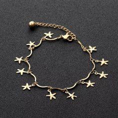 Bratara picior cu charmuri stelute realizata din otel inoxidabil placat cu aur 18K. ✨ #mosselle #bratarapicior #anklet Aur, Gold Necklace, Charmed, Bracelets, Jewelry, Bead, Gold Pendant Necklace, Jewlery, Jewerly