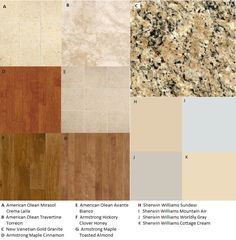 Flooring that goes with New Venetian Gold Granite; Armstrong flooring; Armstrong wood flooring; American Olean tile; SW Sundew; SW Mountain Air; SW Worldly Gray; SW Cottage Cream