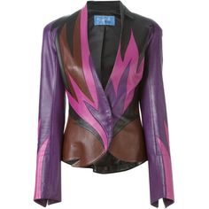 Thierry Mugler Vintage flame leather jacket ($8,275) ❤ liked on Polyvore featuring outerwear, jackets, multicolour, real leather jacket, multi color jacket, color block leather jacket, leather jacket and stand up collar jacket