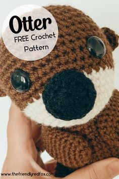 Free Otter crochet pattern. Easy to read and follow pattern. Great for a beginner and intermediate crochet level. Makes the cutest Otter amigurumi! Crochet Animal Patterns, Stuffed Animal Patterns, Amigurumi Patterns, Crochet Animals, Finding Dory, Cute Crochet, Otters, Easy, How To Make
