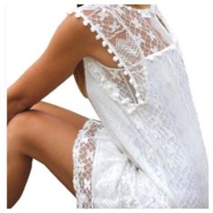 🎉HP🎉 Boho Crochet White Summer Dress 💋 As beautiful as can be! Perfect for summer. You'll want to wear a slip underneath it, or you could wear it as a cover up dress at the beach. 💋 Brand new retail directly from the manufacture. Dresses
