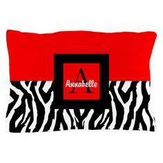 Red Black Zebra Monogram Personalized Pillow Case on CafePress.com