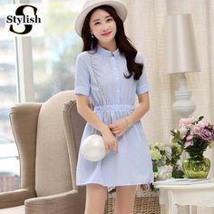 Mulheres camisa De Vestido de Verão Vestido Listrado 2016 Moda Coreano Manga Curta Listrada Branca E Azul de Linho Casual Vestidos Para Senhoras