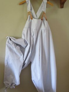 Lagenlook quirky dungarees jumpsuit,overalls,in Pure French Ticking, large gathered pocket,cuffs,.Real leather braces! Plus Size 16/18/20