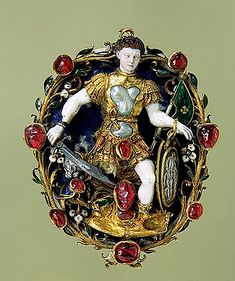 This pendant, featuring Mars, the Roman god of war, was made in the middle of the 16th century by unknown French craftsmen. Gold, silver, lapis lazuli, opal, rubies, pearls, chalcedony and enamel; chased, polished and carved. The rubies imitate drops of blood. Hermitage Museum, St Petersburg, Russia.