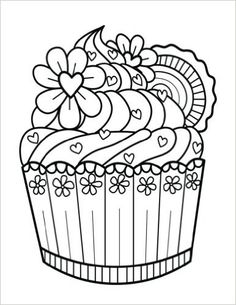 92 Best Cupcakes Cakes Coloring Pages For Adults Images