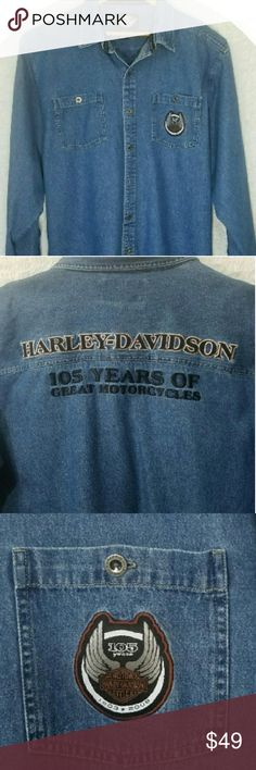 Harley Davidson Denim Shirt This long sleeve denim shirt is an authenic Harley Davidson product great for the biker you love get ready for cooler weather Harley-Davidson Shirts Casual Button Down Shirts