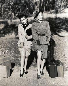 Joan Blondell & Carole Landis        Topper Returns, 1941 photo print ad movie star fashion style suit dress shoes hat purse 40s