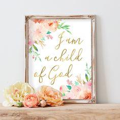 I Am A Child of God Print, Baby Girl Nursery Quote Print, Bible Verse Art,Nursery Wall Art Print,Scripture Art,Baptism Gift,Christian Art by AdorenStudio on Etsy https://www.etsy.com/listing/463412117/i-am-a-child-of-god-print-baby-girl