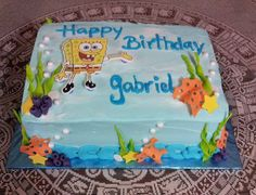 Spongebob Squarepants - 1/4 sheet frosted in Pastry Pride. All decorations are gumpaste.