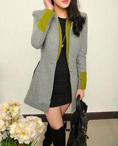 Grey and lime fashion winter coat! Uk size 10