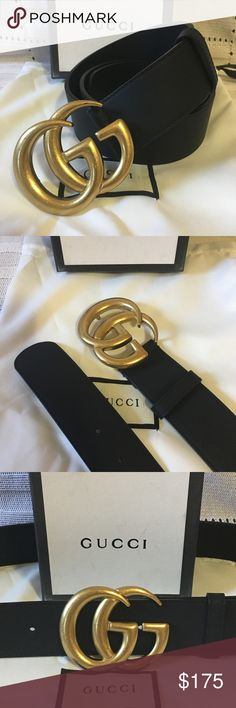 """🔥Gucci belt with double G New Gucci Leather Belt. Black smooth leather. Width 1.5"""" inches. Comes with dust bag and box. Unisex belt. Message if help needed with sizing. Your money back if you are not totally tantalized! Gucci Accessories Belts"""