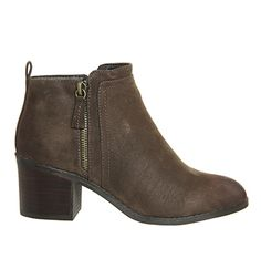 Office Incarnation Side Zip Ankle Boots Chocolate - Ankle Boots