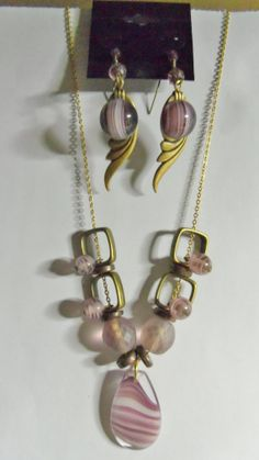 Purple Wave Necklace and Earrings by Spiritracer on Etsy, $10.00