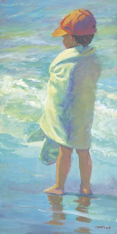 BEACH BOY Boy on the beach 10 x 20 art print signed by artist Lucelle Raad. Painting People, Painting For Kids, Painting & Drawing, Art Plage, Art Amour, Beach Boy, Guache, Love Art, Painting Inspiration