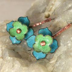 Flower Copper Enamel Earrings Aqua Blue Patina Green by tekaandzoe, $62.00
