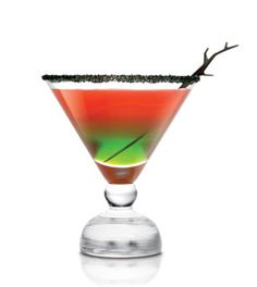 Witches Brew: 2 oz. Midori,  1 oz. SKYY vodka,  ½ oz. triple sec,  ½ oz. lemon juice,  3 strawberries.  Directions: Muddle strawberries and lemon juice in a cocktail shaker. Add vodka and triple sec. Shake vigorously. Pour Midori into a martini glass and layer strawberry cocktail on top.