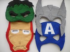 Felt Avengers masks: Captain America, Hulk, Thor and Iron Man masks for dressing up/superhero masks. £19.50, via Etsy.