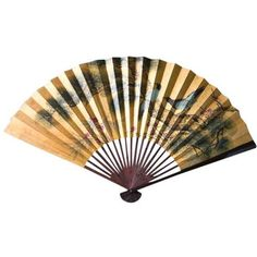 """Large 50"""" Vintage Hand Painted Asian Paper Fan, Wall Art (£78) ❤ liked on Polyvore featuring home, home decor, wall art, paintings, paper wall art, tree branch wall art, branch wall art, bird home decor and tree branch painting"""